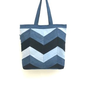 Waste Recycled Products – DENIM TOTE (CHEVRON)