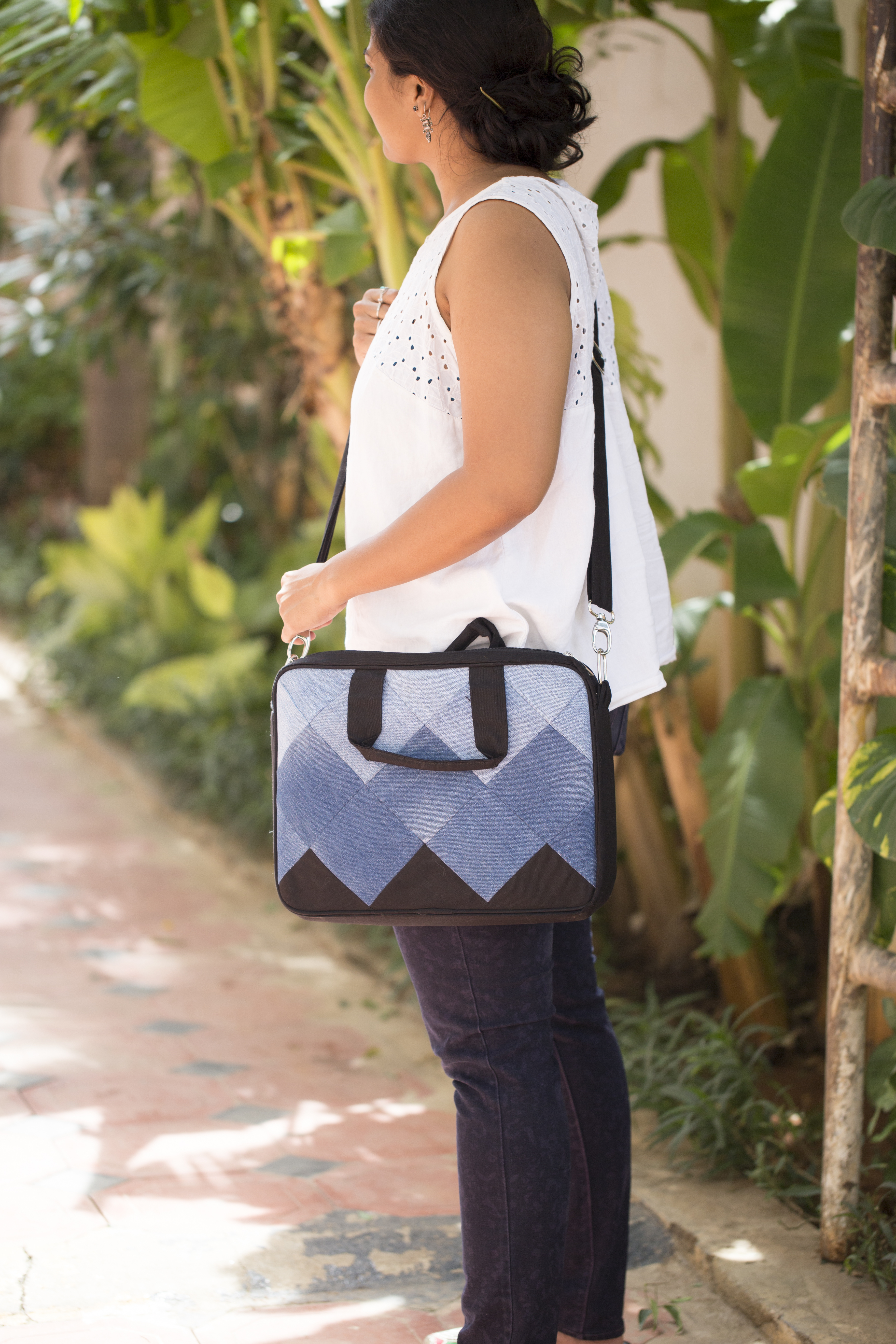 Waste Recycled Products – DENIM LAPTOP BAG (SQUARE PATCHWORK)