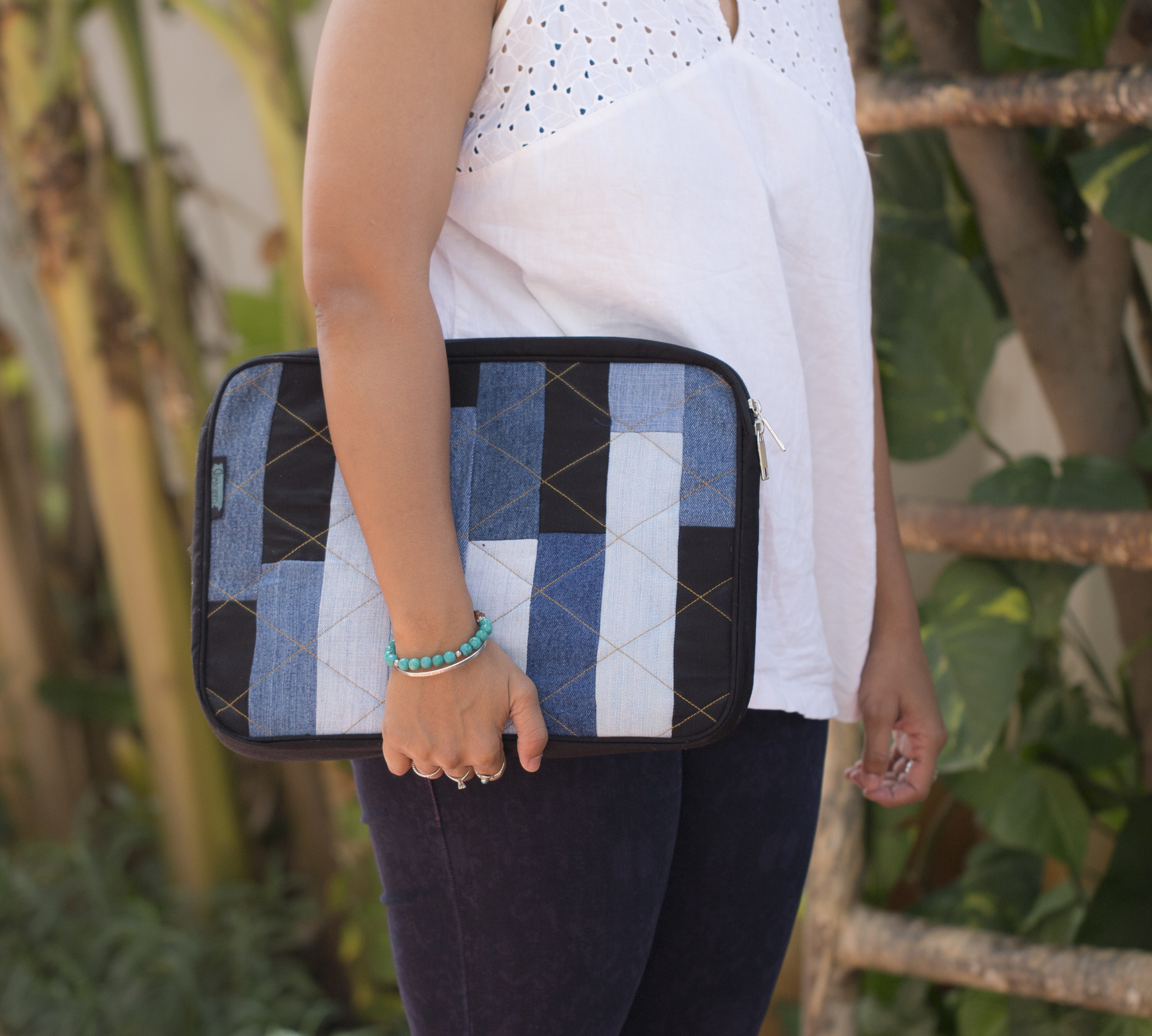 Waste Recycled Products – DENIM LAPTOP SLEEVE (RECTANGULAR PATCHWORK)