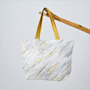Waste Recycled Products – BEACH BAG - YELLOW & WHITE