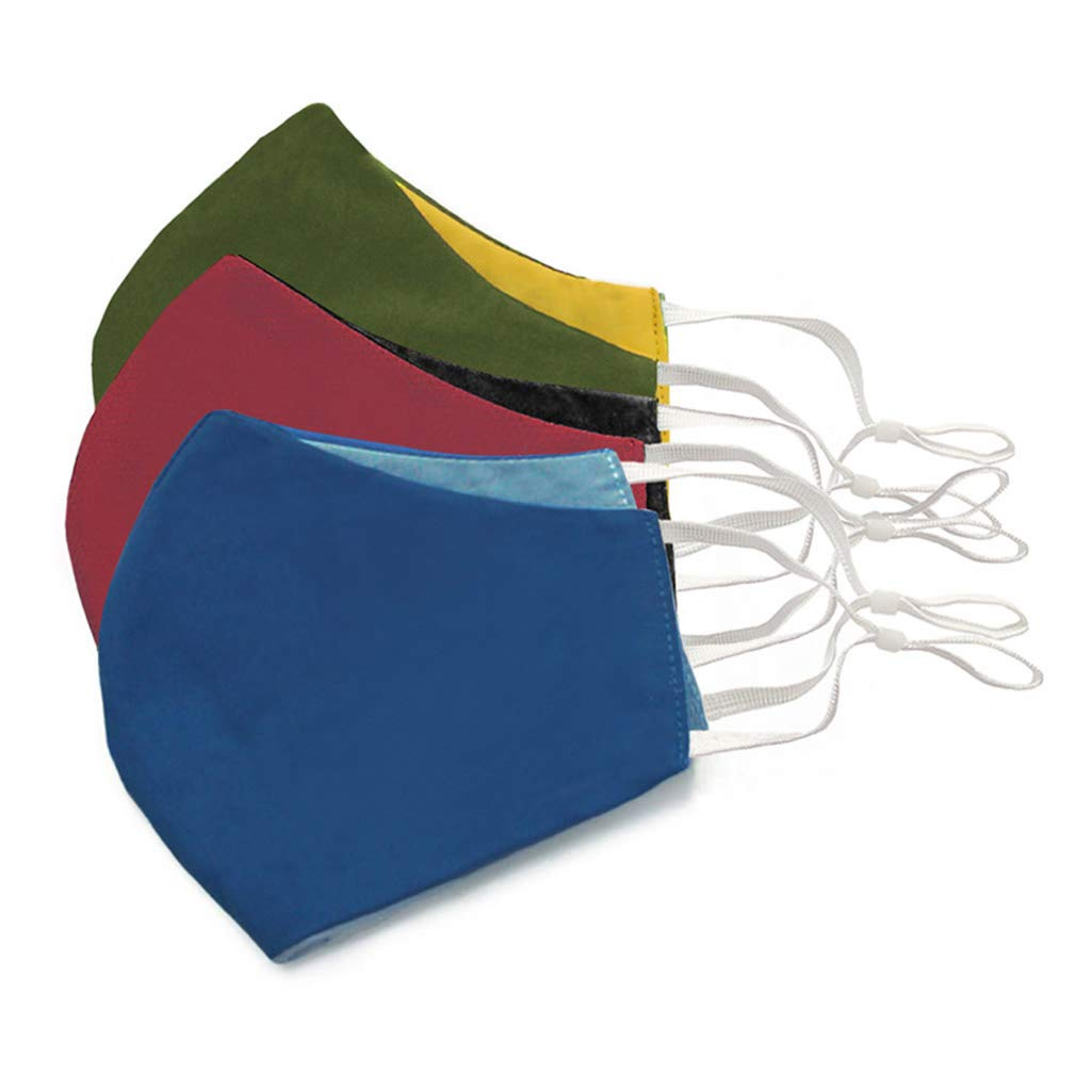Waste Recycled Products – SOLID COLOUR ANTI FOGGING COTTON MASK WITH NOSE WIRE AND ADJUSTABLE EAR LOOPS (SET OF 3)